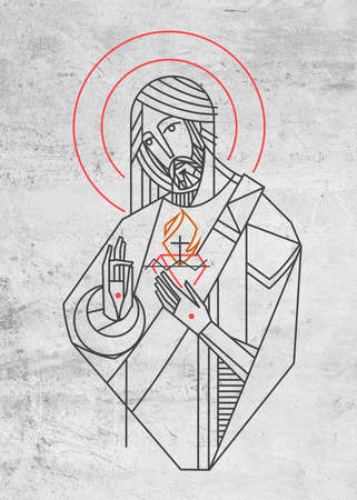 Hand drawn illustration or drawing of Jesus Christ Sacred Heart