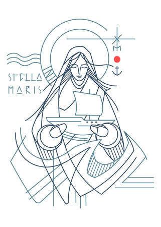 Hand drawn illustration or drawing of the Virgin Mary as the Star of the Sea and a text in Latin that means: Star of the Sea