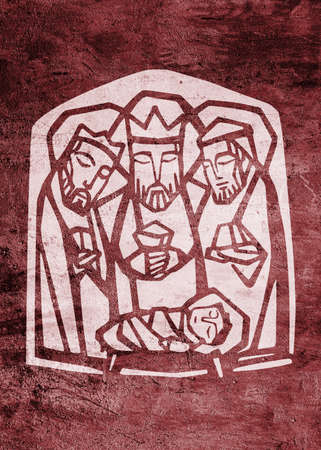 Hand drawn illustration or drawing of the three wise men and baby Jesus Christ