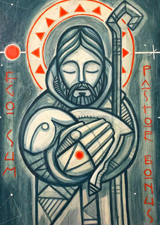 Hand drawn illustration or painting of Jesus Christ Good Shepherd and a phrase in Latin thar means: I am the Good Shepherd