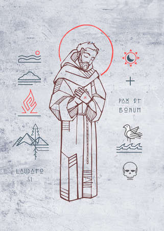 Hand drawn illustration or drawing of JSaint Francis of Asis and christian symbols with phrases in latin that means: Praise you, Peace and good