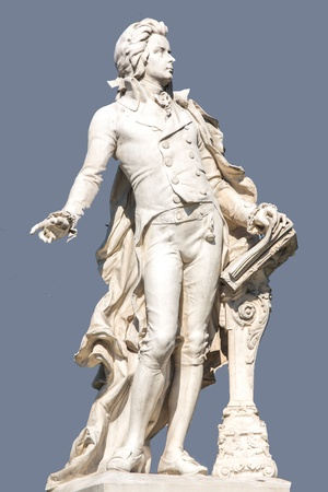 of mozart: The picture shows the statue of the famous composer Wolfgang Amadeus Mozart
