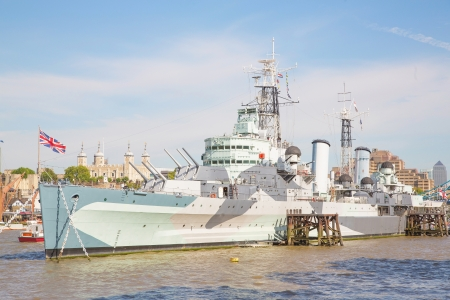 hms: The picture shows the HMS Belfast,a british warship on river thames  Editorial