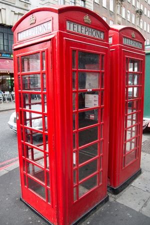 This picture shows a red telephone box in London  Editorial