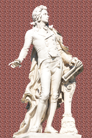 amadeus: The picture shows the statue of the famous composer Wolfgang Amadeus Mozart.