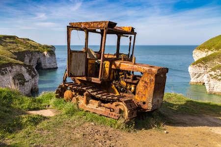 Old rusty crawler, lakes at Flamborough North Landing, near Bridlington, East Riding of Yorkshire, UK Stock Photo