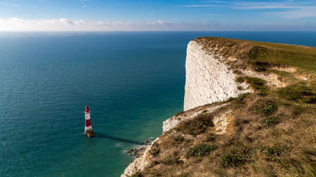 Beachy Head Lighthouse & Cliff, near Eastbourne, East Sussex, England, UK