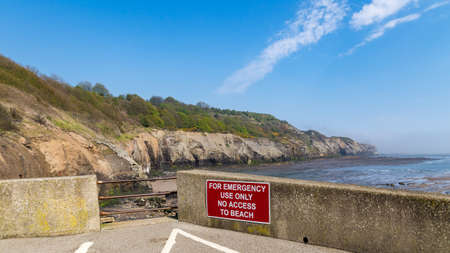 Sign at Sandsend Beach, near Whitby, North Yorkshire, UK
