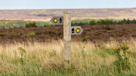 Directional sign on a field in the North York Moors