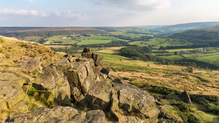 View across the North York Moors from the Wainstones, near Clay Bank and Stokesley, North Yorkshire, UK