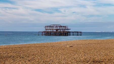 West Pier and beach, Brighton, East Sussex, UK