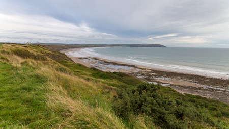 Welsh coast at Hells Mouth, Lleyn Peninsula, Porthneigwl, Gwynedd, Wales, UK 版權商用圖片