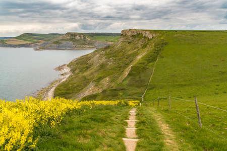 Walking the South West Coast Path, towards Emmetts Hill, Jurassic Coast, Dorset, UK Stock Photo