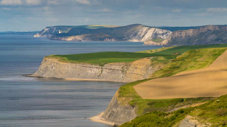 View from the South West Coast Path over the Jurassic Coast, near Worth Matravers, Jurassic Coast, Dorset, UK Stock Photo