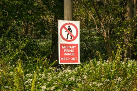 Sign: Military firing range keep out, seen near Tyneham Village, Jurassic Coast, Dorset, UK