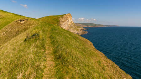 Cliffs at the Jurassic Coast, seen on South West Coast Path between Worbarrow Bay and Brandy Bay, Dorset, UK