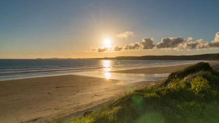Evening sun over Newgale Beach, Pembrokeshire, Dyfed, Wales, UK
