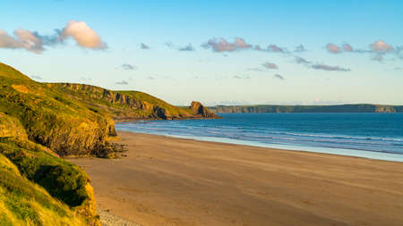Evening at Newgale Beach, Pembrokeshire, Dyfed, Wales, UK Stock Photo