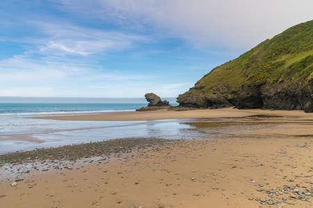 Cliff edge at Llangrannog Beach, Ceredigion, Dyfed, Wales, UK 스톡 콘텐츠