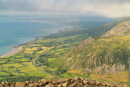 Welsh landscape on the Llyn Peninsula - view from Trer Ceiri towards Trefor, Gwynedd, Wales, UK