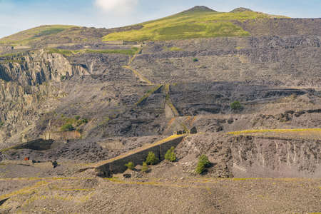 Llanberis, Gwynedd, 웨일즈, 영국 근처의 폐기 된 Dinorwic 채석장 스톡 콘텐츠