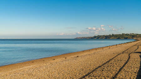 Beach and North Sea, seen from The Leas in Minster on Sea, Isle of Sheppey, Kent, England, UK 写真素材