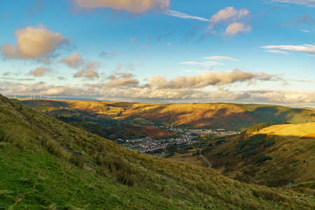 View from the A4061 road over Treorchy in Rhondda Cynon Taf, Mid Glamorgan, Wales, UK Stok Fotoğraf