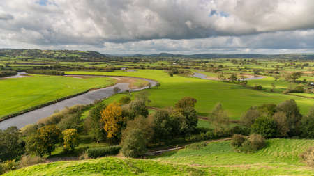 Landscape in Carmarthenshire, seen from Dryslwyn Castle, Dyfed, Wales, UK