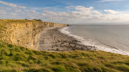 Welsh coastline at the Bristol Channel in Monknash Beach, Vale of Glamorgan, Wales, UK Stock Photo