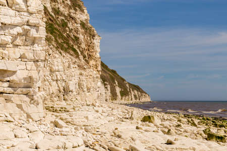 North sea coast with cliffs of Danes Dyke near Bridlington, East Riding of Yorkshire, UK