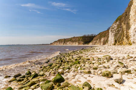 North sea coast with stones and cliffs of Danes Dyke near Bridlington, East Riding of Yorkshire, UK Stock Photo - 93610269