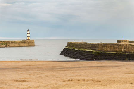 Beach and beacon in Seaham, County Durham, UK