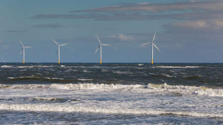 Wind turbines at the North Sea Coast of Redcar, Redcar and Cleveland, UK Archivio Fotografico