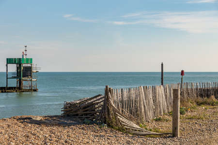 View from Rye Harbour towards the English Channel, East Sussex, UK Stock Photo