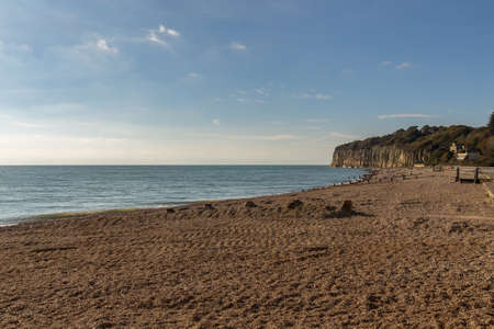 Coast and cliffs at Pett Level Beach near Hastings in East Sussex, UK