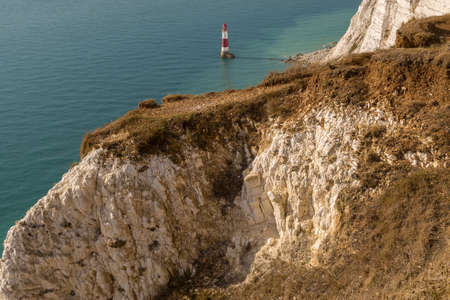 Beachy Head Lighthouse and Cliff, near Eastbourne in East Sussex, England, UK Stock Photo