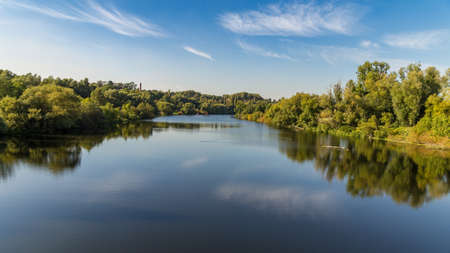 A walk on the banks of the River Ruhr near Muelheim, Ruhr Area, North Rhine-Westphalia, Germany