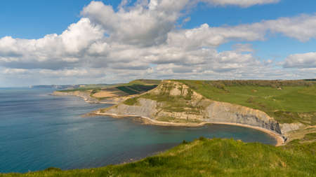 View from the South West Coast Path over the Jurassic Coast and Chapmans Pool, near Worth Matravers, Jurassic Coast, Dorset, UK