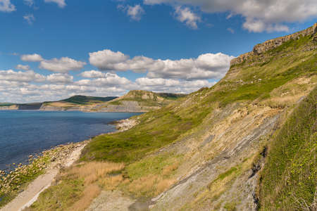 South West Coast Path with a view over the Jurassic Coast and Emmetts Hill, near Worth Matravers, Jurassic Coast, Dorset, UK