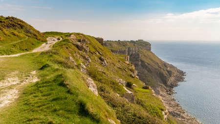 South West Coast Path at Hallelujah Bay, Isle of Portland, Jurassic Coast, Dorset, UK Stock Photo