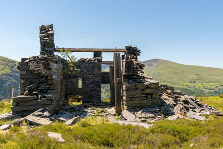Derelict house at Dinorwic Quarry near Llanberis, Gwynedd, Wales, UK