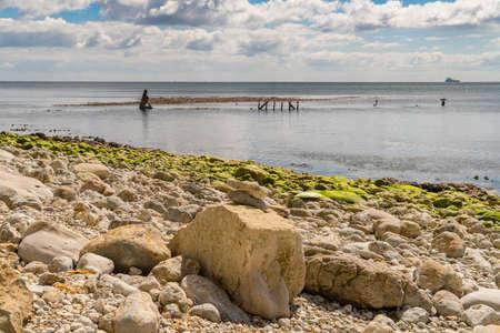 The Wreck of The Minx seen from Osmington Bay, near Weymouth, Jurassic Coast, Dorset, UK