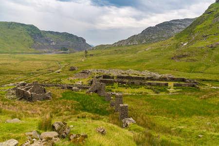 The ruins of the disused Conglog Quarry Mill near Blaenau Ffestiniog, Gwynedd, Wales, UK