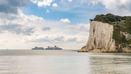 St Margaret's at Cliffe, Kent, England, UK - September 18, 2017: Two ferries crossing the British Channel on the way between France and Dover