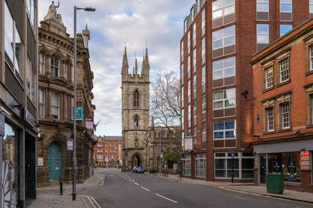 Kingston upon Hull, England, UK - May 02, 2016: Lowgate with St Mary's Church in the background