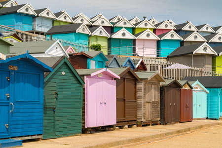 Walton-on-the-Naze, Essex, England, UK - May 29, 2017: Rows of beach huts at the Southcliff Promenade Reklamní fotografie - 104861094