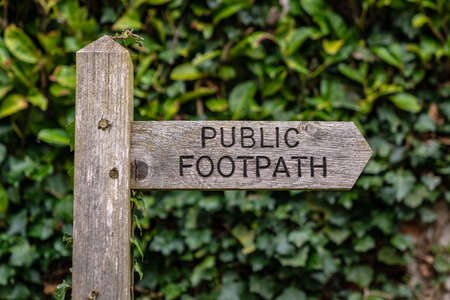 Sign: Public Footpath, seen in Coltishall, The Broads, Norfolk, England, UK Stok Fotoğraf