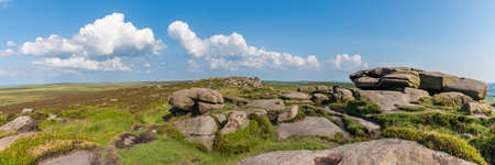 Clouds over Stanage Edge near Hathersage in the East Midlands, Peak District, Derbyshire, England, UK