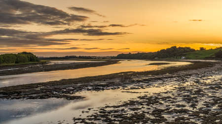 Evening at the River Tweed near Berwick-upon-Tweed in Northumberland, England, UK