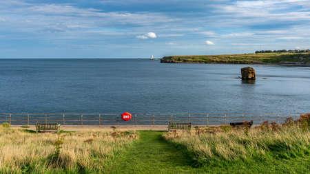 North Sea coast in Collywell Bay, Seaton Sluice in Northumberland, England, UK